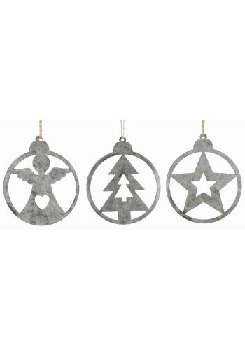 Χριστουγεννιάτικα Μεταλλικά Κρεμαστά Ασημί Στολίδια - 3 Σχέδια (8cm)