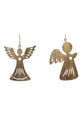 Χριστουγεννιάτικα Χρυσά Κρεμαστά Μεταλλικά Στολίδια - 2 Σχέδια (10cm)
