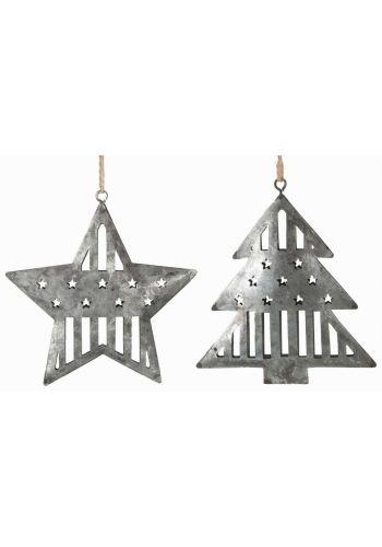 Χριστουγεννιάτικα Μεταλλικά Ασημί Στολίδια, Έλατο και Αστέρι - 2 Σχέδια (11cm)