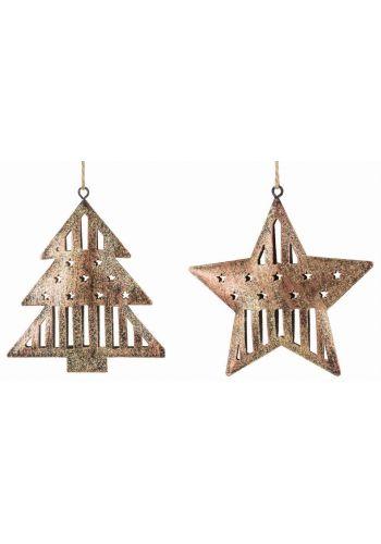 Χριστουγεννιάτικα Μεταλλικά Χρυσά Στολίδια - 2 Σχέδια (11cm)