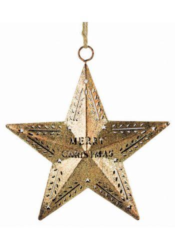 Χριστουγεννιάτικο Κρεμαστό Αστέρι 3D, Χρυσό με Merry Christmas (15cm)