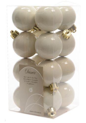 Χριστουγεννιάτικες Μπάλες Δέντρου Λευκές - Σετ 16 τεμάχια (4cm)