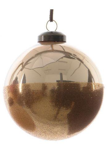 Χριστουγεννιάτικη Μπάλα Γυάλινη Χρυσή, με Χρυσό Στρας (8cm)