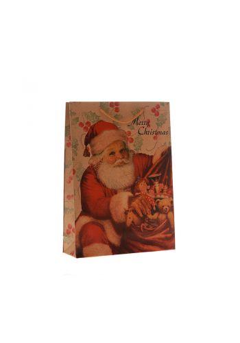 Χριστουγεννιάτικη Σακούλα Δώρου, με Άγιο Βασίλη (32cm)