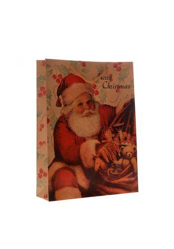Χριστουγεννιάτικη Σακούλα Δώρου, με Άγιο Βασίλη (45cm)