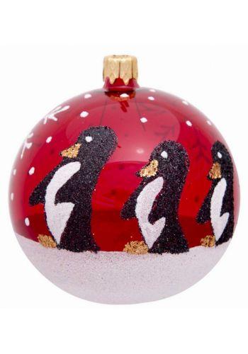 Χριστουγεννιάτικη Χειροποίητη Μπάλα Κόκκινη, Πιγκουίνοι - 10εκ.