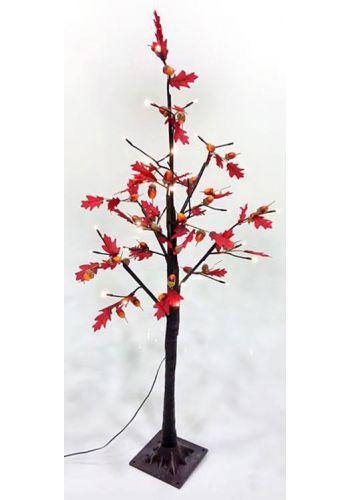 Χριστουγεννιάτικο Φωτιζόμενο Δέντρο, Κόκκινη Βελανιδιά με Υφασμάτινα Φύλλα (1.20m)