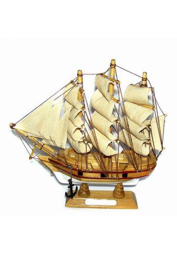 Χριστουγεννιάτικο Ξύλινο Διακοσμητικό Καράβι με Πανιά (20cm