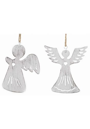 Χριστουγεννιάτικα Λευκά Κρεμαστά Μεταλλικά Στολίδια - 2 Σχέδια (10cm)