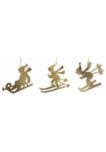 Χριστουγεννιάτικα Μεταλλικά Χρυσά Στολίδια, Σκιέρ - 3 Σχέδια (11cm)