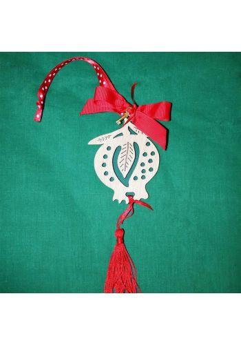 Χριστουγεννιάτικο Ξύλινο Κρεμαστό Γούρι Ρόδι με Φιόγκο και Κρόσια, 20cm