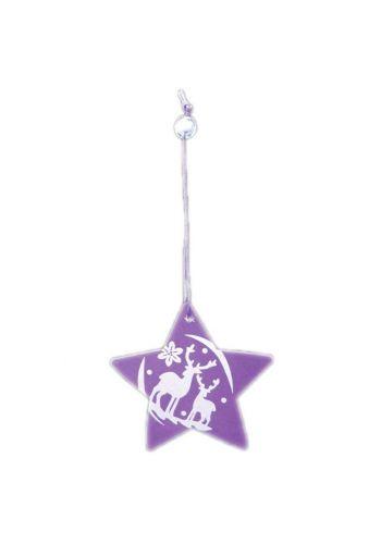 Χριστουγεννιάτικο Στολίδι Αστέρι Μωβ, με Ταράνδους (8cm)