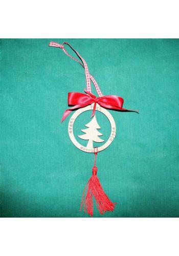 Χριστουγεννιάτικο Ξύλινο Κρεμαστό Γούρι Έλατο με Φιόγκο και Επιγραφές, 20cm