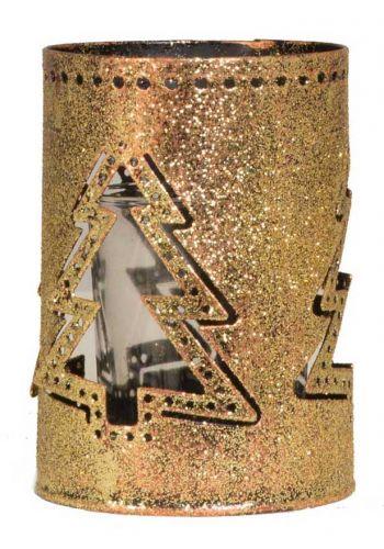 Χριστουγεννιάτικο Χρυσό Μεταλλικό Κηροπήγιο με Ελατάκι και Γυάλινο Βαζάκι, 10cm