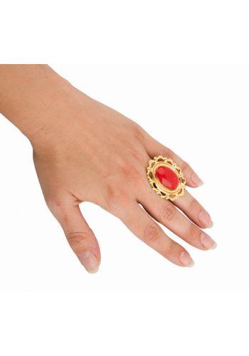 Αποκριάτικο Αξεσουάρ Κόκκινο Δαχτυλίδι με Χρυσό