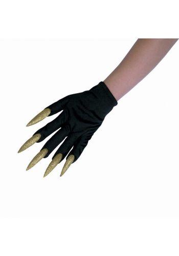 Αποκριάτικο Αξεσουάρ Μαύρα Γάντια με Χρυσά Μεγάλα Νύχια