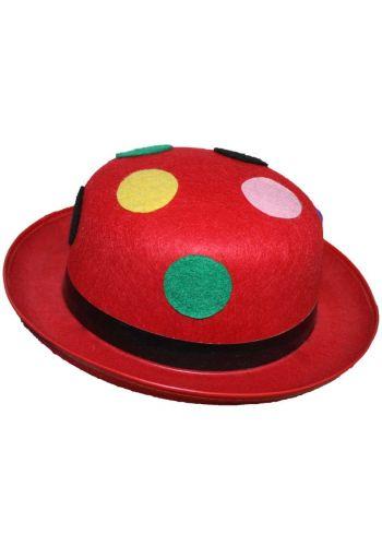 Αποκριάτικο Αξεσουάρ Κόκκινο Καπέλο Κλόουν με Κορδέλα και Πολύχρωμες Βούλες
