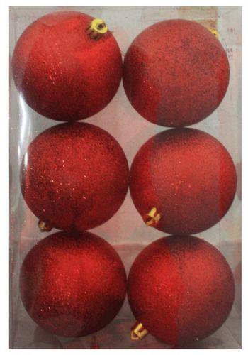 Χριστουγεννιάτικες Μπάλες Κόκκινες - Σετ 6 τεμ. (8cm)