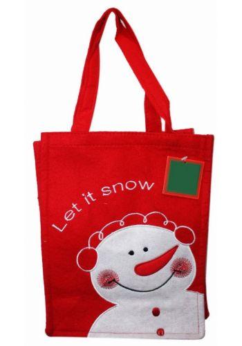"""Χριστουγεννιάτικη Κόκκινη Τσόχινη Τσάντα με Χιονάνθρωπο και Επιγραφή """"Let it snow"""", 28cm"""