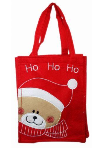 """Χριστουγεννιάτικη Κόκκινη Τσόχινη Τσάντα με Αρκουδάκι και Επιγραφή """"Ho Ho Ho"""", 28cm"""