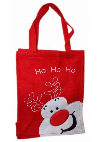 """Χριστουγεννιάτικη Κόκκινη Τσόχινη Τσάντα με Τάρανδο και Επιγραφή """"Ho Ho Ho"""", 28cm"""