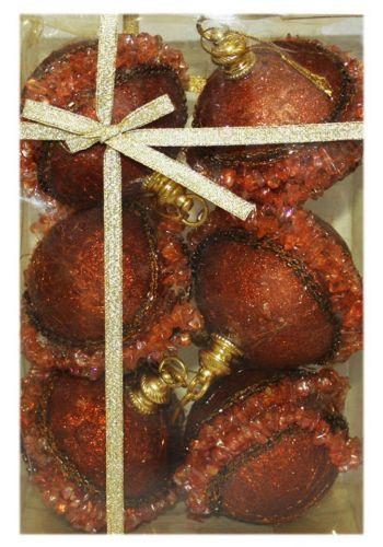 Χριστουγεννιάτικες Πλαστικές Μπρονζέ Μπάλες Ανάγλυφες με Μπρονζέ Χάντρες, 6cm (Σετ 6 τεμ)