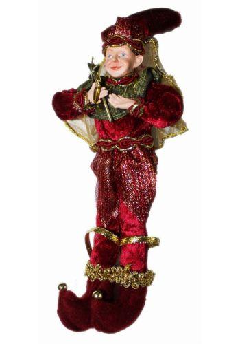 Χριστουγεννιάτικο Στολίδι Ξωτικό με Αστέρι, Κόκκινο με Χρυσές Λεπτομέρειες, 25cm