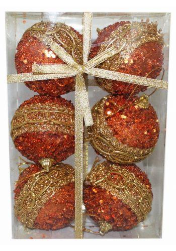 Χριστουγεννιάτικες Μπάλες Μπρονζέ - Σετ 6 τεμ. ()