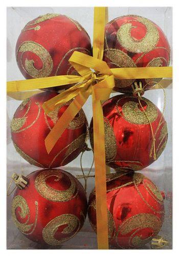Χριστουγεννιάτικες Πλαστικές Κόκκινες Μπάλες με Χρυσές Λεπτομέρειες, 8cm (Σετ 6 τεμ)