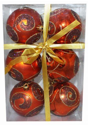Χριστουγεννιάτικες Πλαστικές Μπρονζέ Μπάλες με Ανάγλυφες Λεπτομέρειες, 8cm (Σετ 6 τεμ)