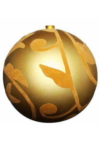 Χριστουγεννιάτικη Χρυσή Μπάλα Οροφής, με Βελούδινα Σχέδια (20cm)