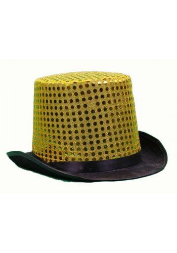 Αποκριάτικο Αξεσουάρ Ψηλό Χρυσό Καπέλο με Πούλιες