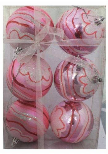 Χριστουγεννιάτικες Πλαστικές Ροζ Μπάλες με Ανάγλυφα Σχέδια, 8cm (Σετ 6 τεμ)
