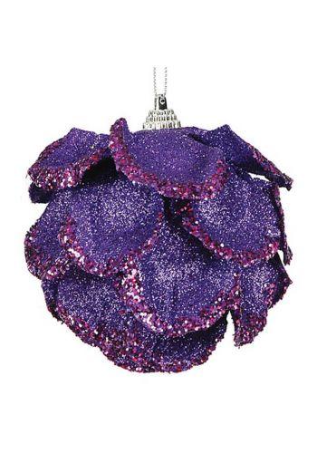Χριστουγεννιάτικες Πλαστικές Μωβ Μπάλες με Σχέδιο Λουλούδι και Στρας, 10cm (Σετ 6 τεμ)