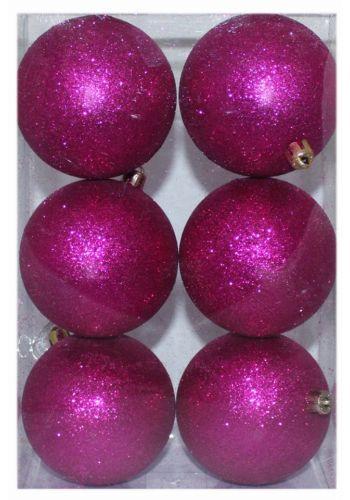 Χριστουγεννιάτικες Πλαστικές Φούξια Μπάλες, με Χρυσόσκονη - Σετ 6 τεμ. (8cm)