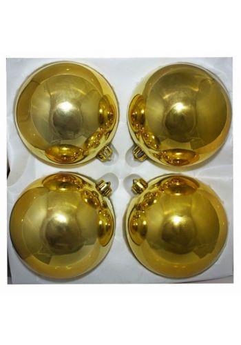 Χριστουγεννιάτικες Πλαστικές Χρυσές Μπάλες, 10cm (Σετ 4 τεμ)