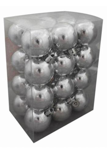 Χριστουγεννιάτικες Πλαστικές Ασημί Μπάλες, 4cm (Σετ 24 τεμ)