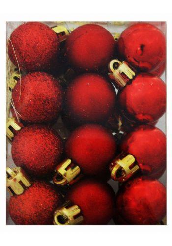 Χριστουγεννιάτικες Πλαστικές Κόκκινες Μπάλες, 3cm (Σετ 24 τεμ)