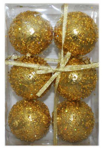 Χριστουγεννιάτικες Πλαστικές Χρυσές Μπάλες με Χάντρες, 8cm (Σετ 6 τεμ)