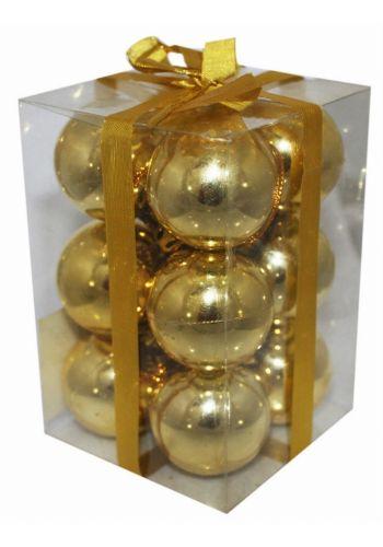 Χριστουγεννιάτικες Πλαστικές Χρυσές Μπάλες, 4cm (Σετ 12 τεμ)