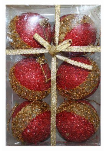 Χριστουγεννιάτικες Πλαστικές Κόκκινες Μπάλες με Χρυσές Πούλιες, 6cm (Σετ 6 τεμ)