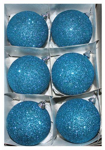 Χριστουγεννιάτικες Πλαστικές Γαλάζιες Μπάλες με Χρυσόσκονη, 6cm (Σετ 6 τεμ)
