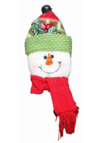 Χριστουγεννιάτικο Λούτρινο Στολίδι Χιονάνθρωπος με Κουδουνάκι, Γκι και Κασκόλ, 18cm