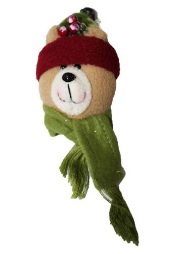 Χριστουγεννιάτικο Λούτρινο Στολίδι Αρκουδάκι με Κουδουνάκι, Γκι και Κασκόλ, 18cm