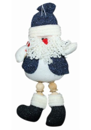 Χριστουγεννιάτικος Κρεμαστός Λούτρινος Άγιος Βασίλης με Μπλε Ρούχα, 24cm