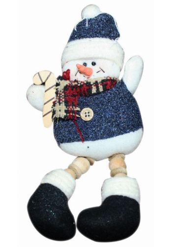 Χριστουγεννιάτικος Κρεμαστός Λούτρινος Χιονάνθρωπος με Μπλε Ρούχα, 24cm