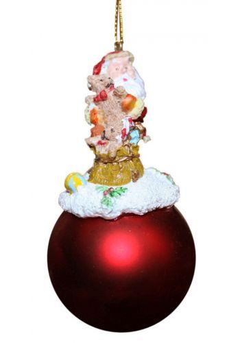 Χριστουγεννιάτικο Κρεμαστό Στολίδι Μπάλα με Άγιο Βασίλη (11cm)