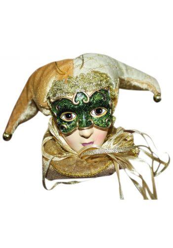 Χριστουγεννιάτικο Υφασμάτινο Στολίδι Αρλεκίνος με Πράσινη Μάσκα και Χρυσό Καπέλο (12cm)