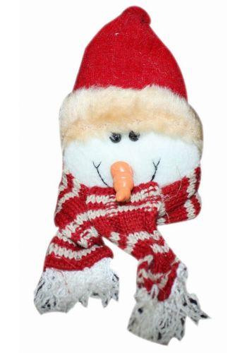Χριστουγεννιάτικο Λούτρινο Στολίδι Χιονάνθρωπος με Πλεκτό Κασκόλ και Κόκκινο Σκούφο, 20cm