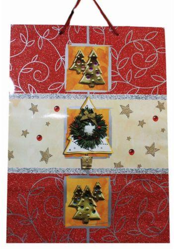 Χριστουγεννιάτικη Τσάντα με Έλατα, Στεφάνι και Αστεράκια, 45cm